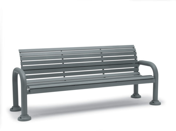 6' Outdoor Bench with Back with Arms - Camden Collection - Portable/Surface Mount