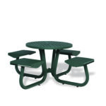 "36"" Round Outdoor Table With Attached Seats - Camden Collection - Portable/Surface Mount"