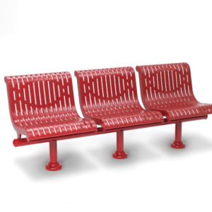 3-Seat Straight Outdoor Bench with Back - City Limits Series