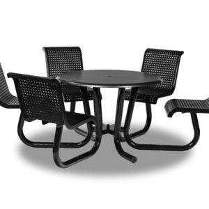 42 inch ADA Accessible Outdoor Picnic Tables with Attached Chairs - Camino Series - Surface Mount