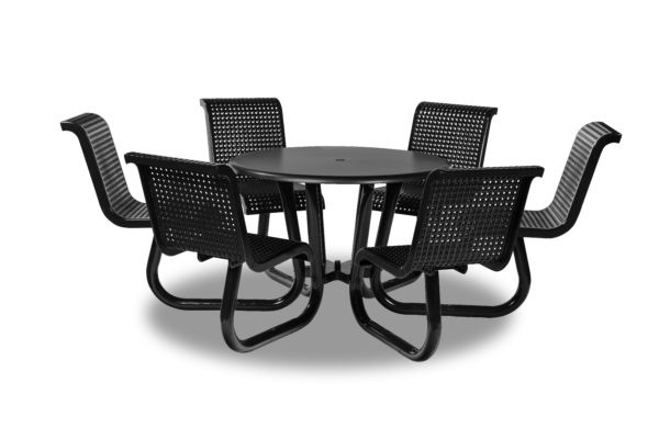 Outdoor Patio Picnic Table with Attached Chairs - Camino Series - Portable