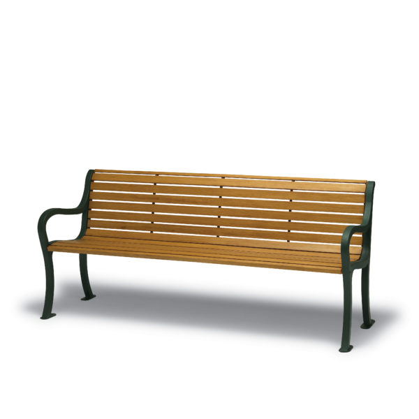 4 foot & 6 foot Outdoor Benches with Back - Covington Collection - Portable/Surface Mount