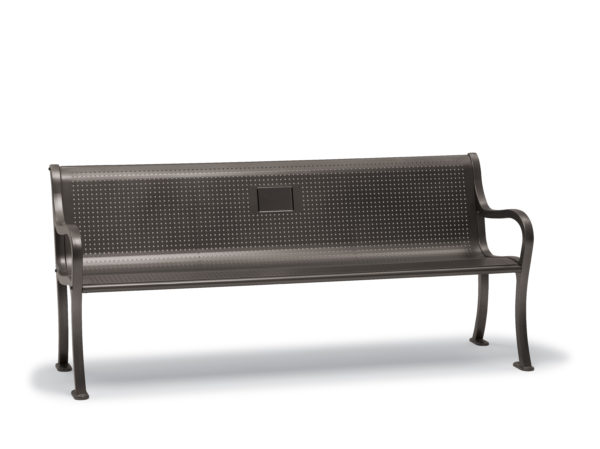 6 foot Memorial Bench with back & arms - Covington Collection - Portable/Surface Mount