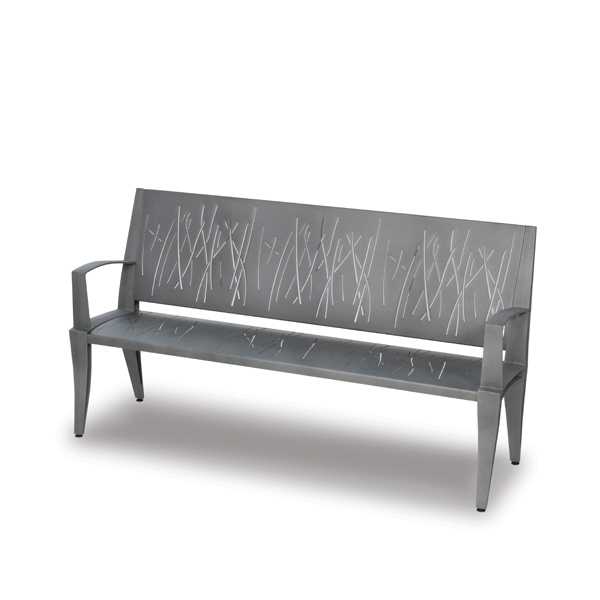 6 Foot Outdoor Bench with back with arms Heather Pattern – Dewart Collection – Portable Surface Mount