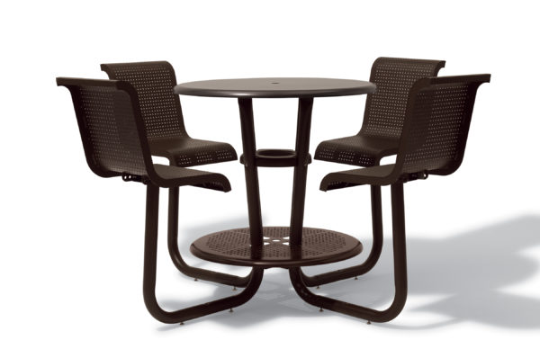 42 inch Round Bar Outdoor Table/Picnic Table with Chairs - Solid Top - Portable/Surface Mount
