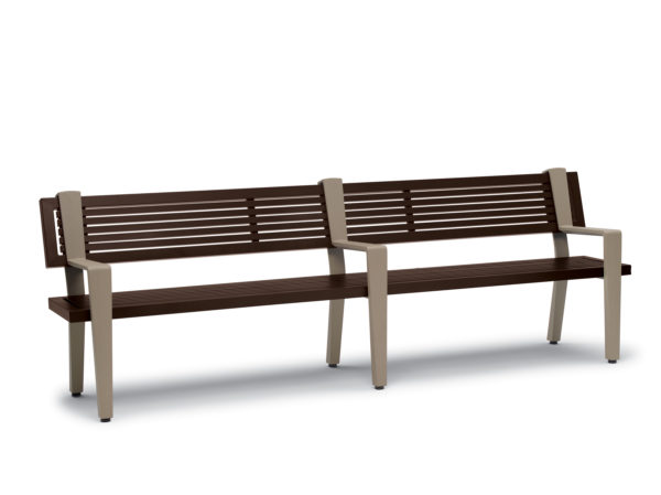 8 foot Outdoor Bench with Back, with Arms - Rockport Collection - Portable/Surface Mount