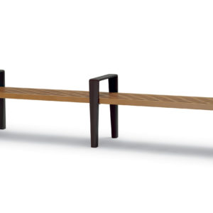 8 foot Outdoor Bench without Back, with Arms - Rockport Collection - Portable/Surface Mount