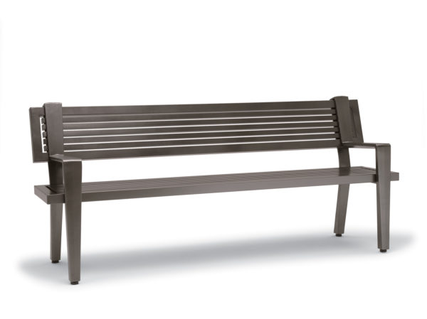 6 foot Outdoor Bench with Back, with Arms - Rockport Collection