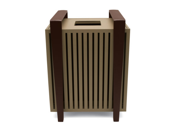 Elegance - 32 Gallon Outdoor Trash Receptacle with liner - Rockport Collection - Portable/Surface Mount