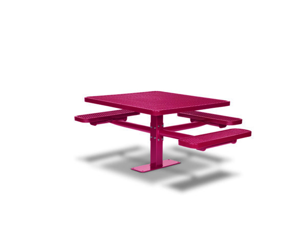 46 inch Square Pedestal ADA Accessible Picnic Table with 3 Seats - Basic Frame - Signature Series - Inground or Surface Mount