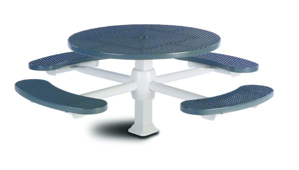 46 inch Round Pedestal Picnic Table with 4 Seats - Superior Frame - Signature Series - Inground