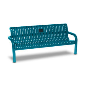 Outdoor Memorial 6 foot Contemporary Bench with plaque - Specialty Series - Inground