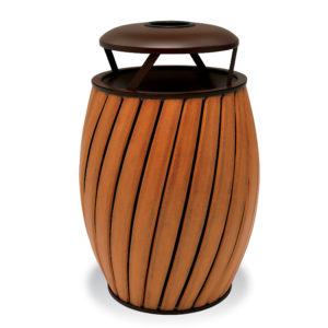 "Elegance - ""A"" Wide Slat Style 32 Gallon Outdoor Trash Receptacle with Liner"