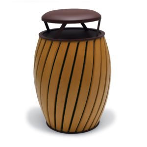 """Elegance - """"A"""" Wide Slat Style 32 Gallon Outdoor Trash Receptacle with Liner"""