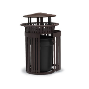 "Elegance - ""J"" Style 32 Gallon Outdoor Trash Receptacle with Liner"