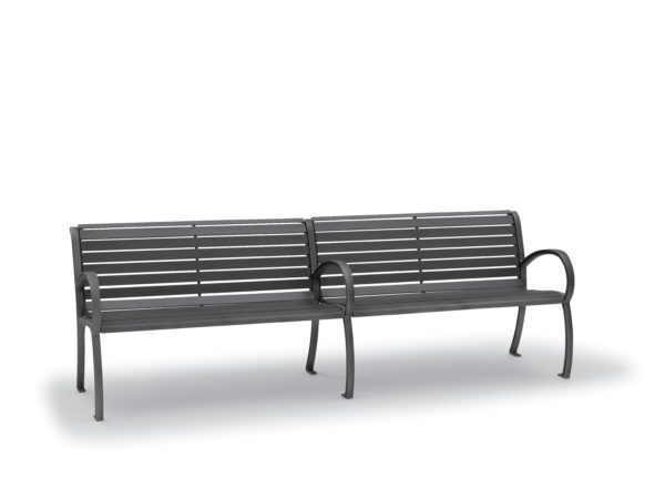 8' Outdoor Bench with Back, with Arms - Winchester Collection - Portable/Surface Mount