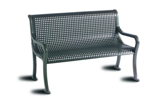 4 foot & 6 foot Outdoor Benches with Back - Courtyard Series - Portable/Surface Mount