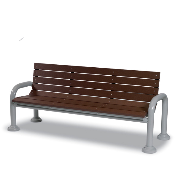 6 Foot Outdoor Bench with back – Green Valley – Portable/Surface Mount