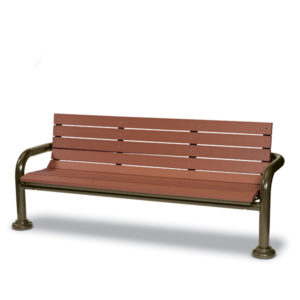 6 Foot Outdoor Bench with back - Green Valley - Inground