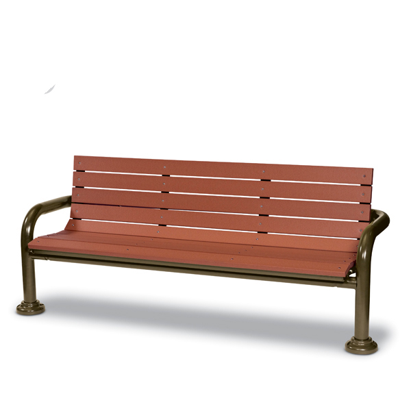 6 Foot Outdoor Bench with back – Green Valley – Inground