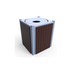 32 Gallon Square Recycle Slat Outdoor Trash Receptacle w/liner - Green Valley