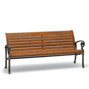 6' Outdoor Bench with Back, with Arms - Ashley Collection - Portable/Surface Mount