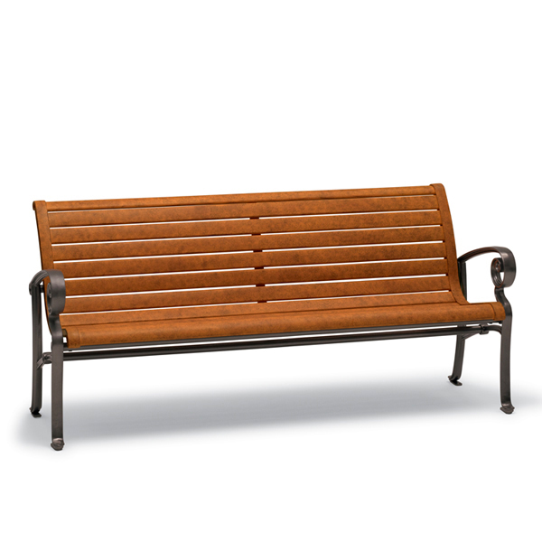 6′ Outdoor Bench with Back, with Arms – Ashley Collection – Portable/Surface Mount