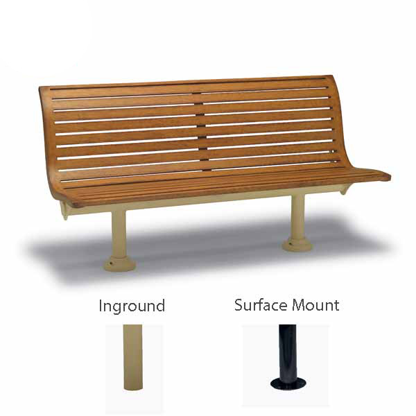 6' Outdoor Bench with Back, without Arms - Burns Harbor Collection