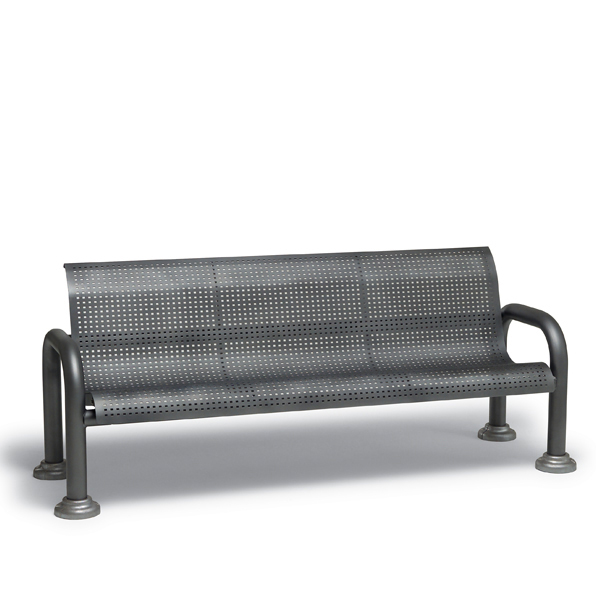 6′ Outdoor Bench with Back with Arms – Camden Collection – Portable/Surface Mount