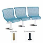 Concave Outdoor Bench - 15 Degree 3-Seat with Back - City Limits Series