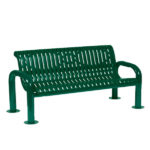 4 foot or 6 foot Outdoor Bench with Back - Contemporary Series - Portable/Surface Mount