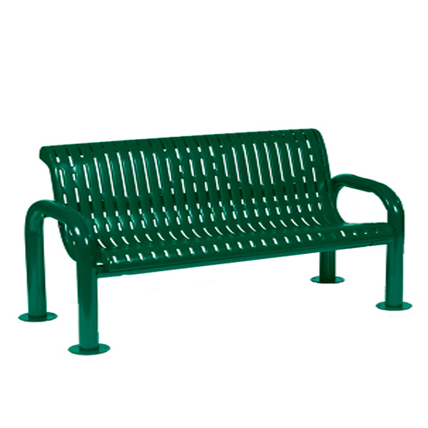 4 foot or 6 foot Outdoor Bench with Back – Contemporary Series – Portable/Surface Mount