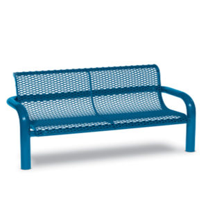 4 foot or 6 foot Outdoor Bench with Back - Contemporary Series - Inground
