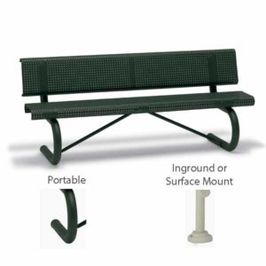 6 foot & 8 foot Outdoor Benches with Back - Portage Collection - Portable, Surface Mount or Inground