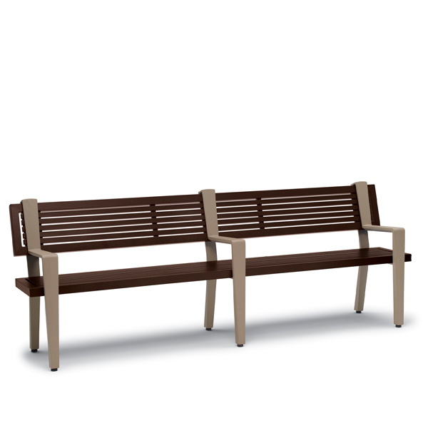 8 foot Outdoor Bench with Back, with Arms – Rockport Collection – Portable/Surface Mount