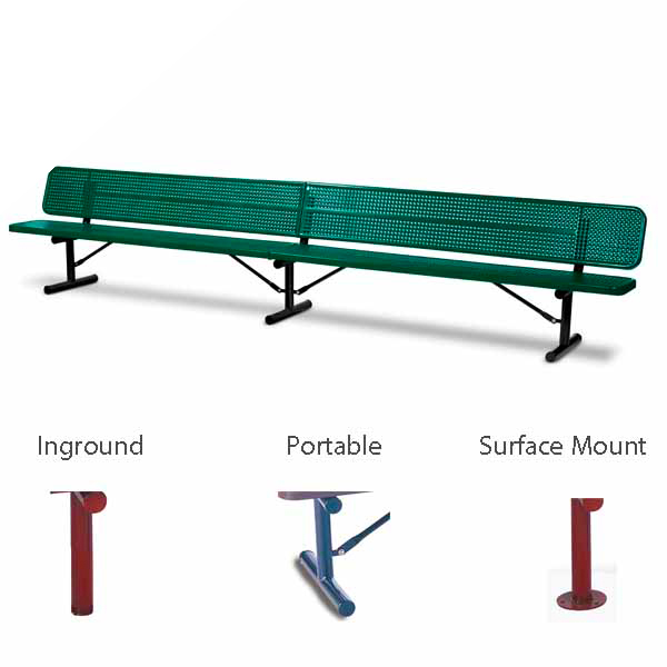 10 foot and 15 foot Player Outdoor Benches with back – 15″ Wide Seats – Signature Series