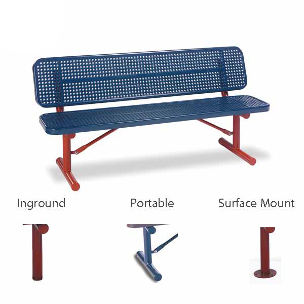 6′ and 8′ Player Outdoor Benches with back – 15″ Wide Seats – Signature Series