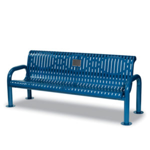 Outdoor Memorial 6' Contemporary Bench with plaque - Specialty Series - Portable/Surface Mount