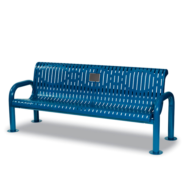 Outdoor Memorial 6′ Contemporary Bench with plaque – Specialty Series – Portable/Surface Mount