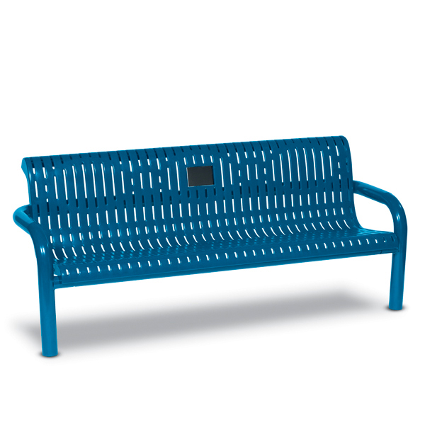 Outdoor Memorial 6 foot Contemporary Bench with plaque – Specialty Series – Inground