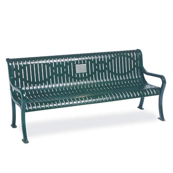 Outdoor Memorial 6 foot Courtyard Bench with plaque – Specialty Series