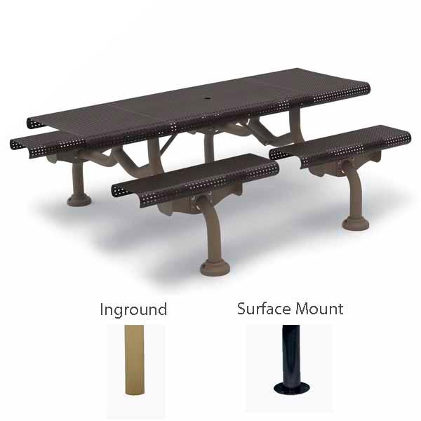 7' Rectangular Patio Picnic Table - Camden Collection - Portable/Surface Mount or Inground
