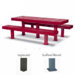 Rectangular 8 foot Picnic Table w/ Center Leg - Designer Series