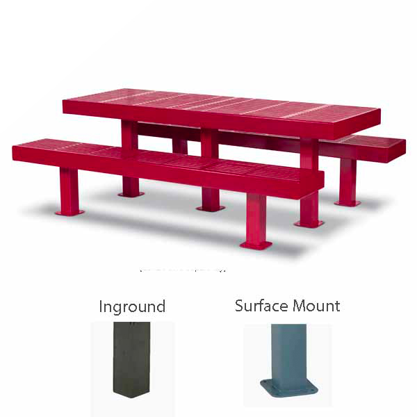 Rectangular 8 foot Picnic Table w/ Center Leg - Designer Series