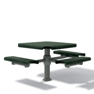 46 inch Accessible (ADA) Square Picnic Table - with 3 Seats - Inground
