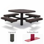 46 inch Octagon Picnic Table - 4 Seats - Basic Frame - Prestige Series - Inground or Surface Mount