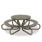 42 inch Round Picnic Table with Concave Seating - 6 Legs - Signature Series - Portable