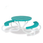 42 inch Round Picnic Table with Concave Seating - 4 Legs - Signature Series - Portable