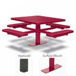 46 inch & 40 inch Square Pedestal Picnic Tables with 4 Seats - Basic Frame - Signature Series - Inground or Surface Mount