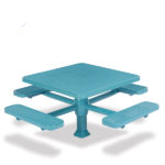 46 inch & 40 inch Square Pedestal Picnic Table with 4 Seats - Superior Frame - Signature Series - Inground